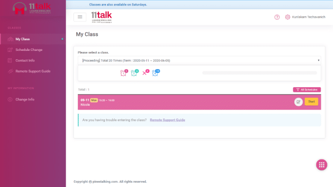 11talk join the class