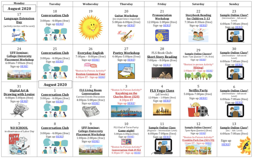 FLS Virtual Activity Calendar